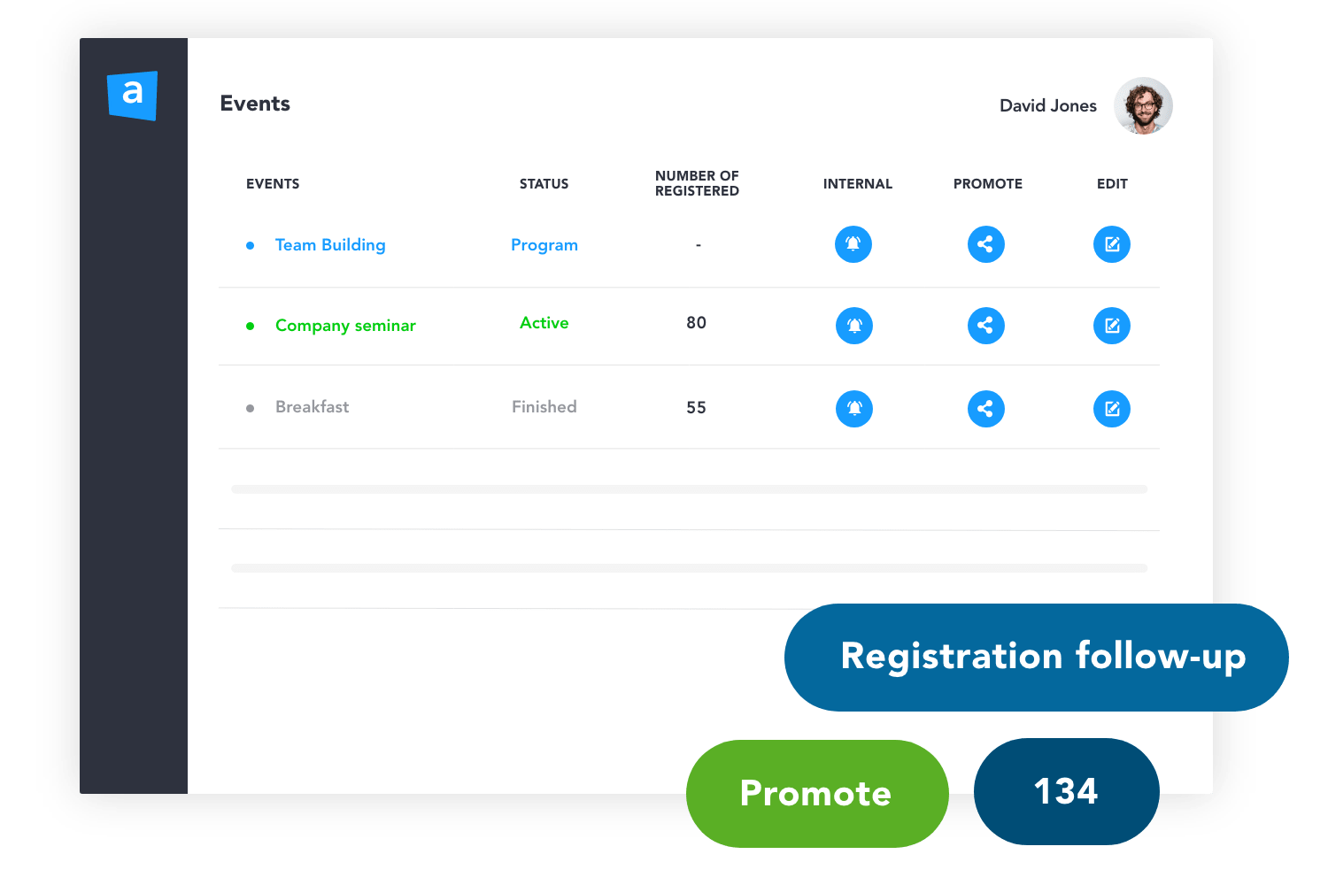 Follow registrations and withdrawals in real time